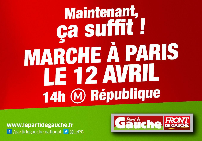 Appel du Parti de Gauche à la Marche du 12 Avril
