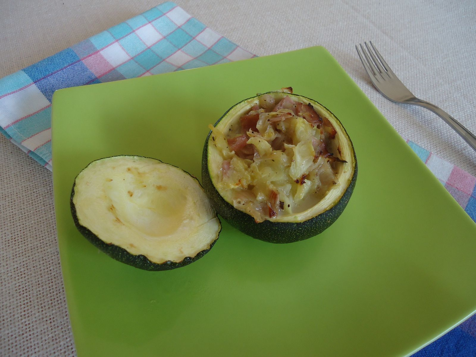 Courgettes farcies au bacon