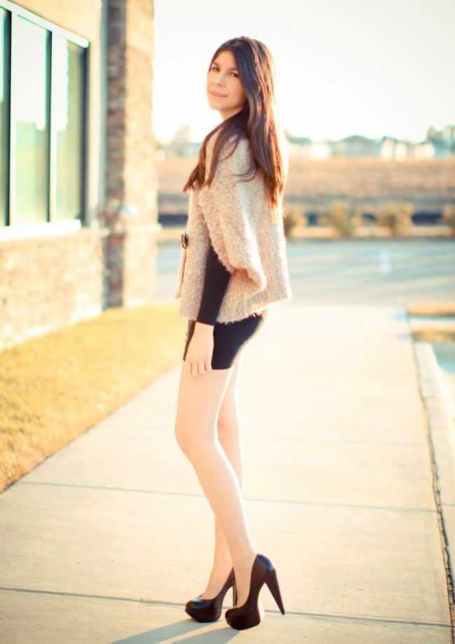 American Apparel body con, Little Black Dress, Aldo heels, Mohair Wool Shrug