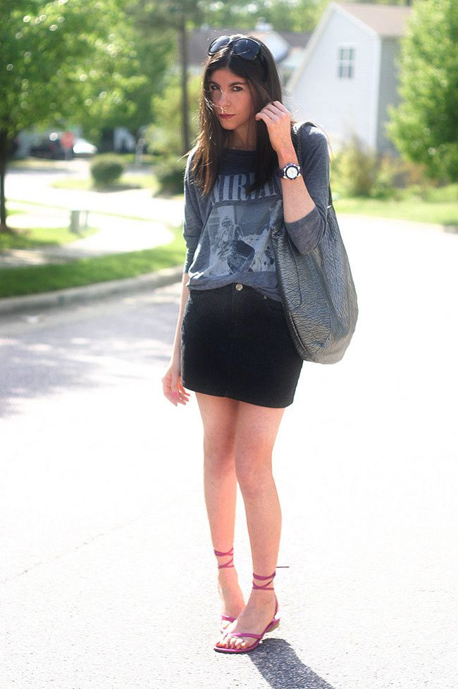 Chaser Tee, Behnaz Sarafpour Skirt, Dior Sunglasses, Costume National sandals, Volcom bag, Michele watch