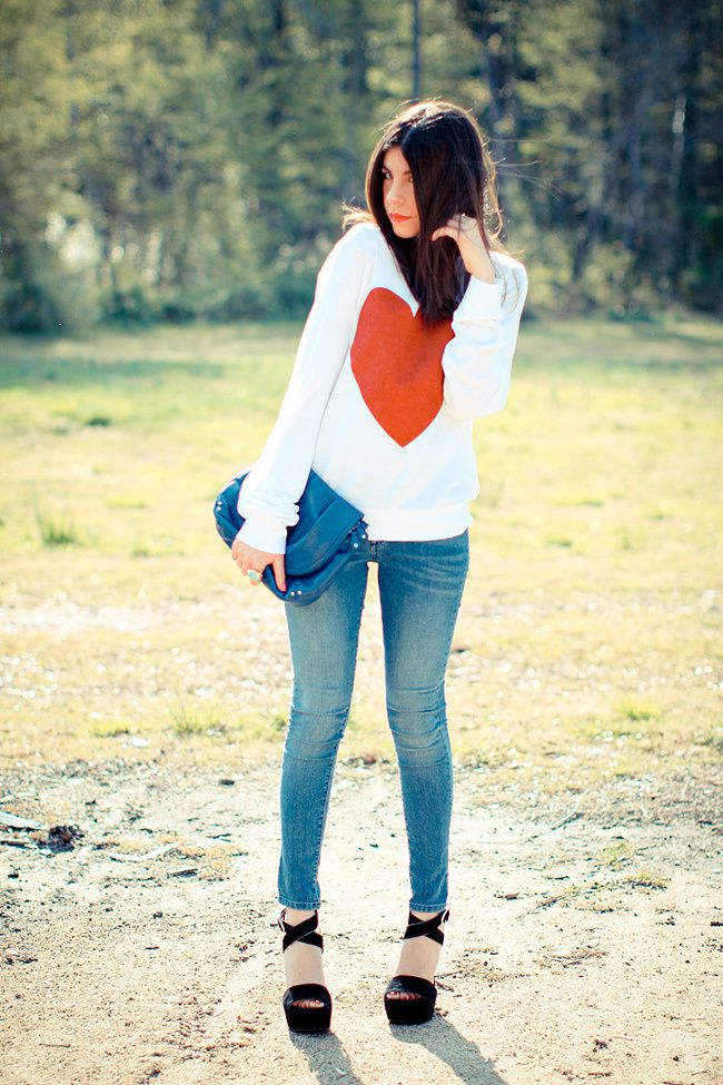 Wildfox Couture Sparkle Heart Jumper, James Jeans Twiggy Karma, Dolce and Gabbana suede platform wedges, House of Harlow rose gold ring, Yves Saint Laurent Arty Oval ring, Fashion Outfit
