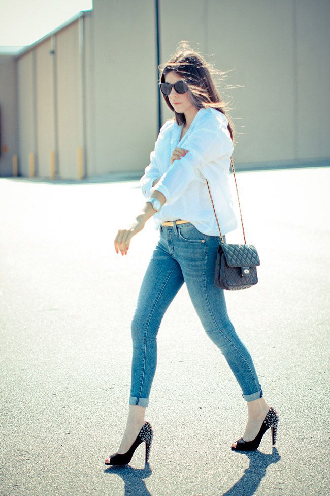 Sam Edelman Spiked Heels, Asos White Button Up, Skinny Jeans, Chanel bag
