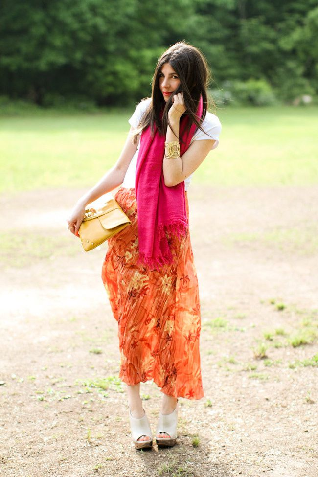 Vintage Maxi Skirt, Aldo nude heels, Loft gold cuff, Asos yellow clutch, Hot Pink Cashmere Scarf