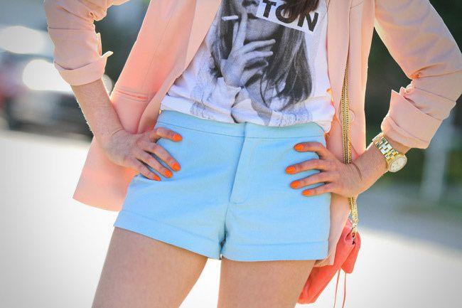 Pink blazer, hot pants, Aldo heels, Balenciaga bag, Fashion outfit, Marc Jacobs gold watch, Essie nail polish, Brixton