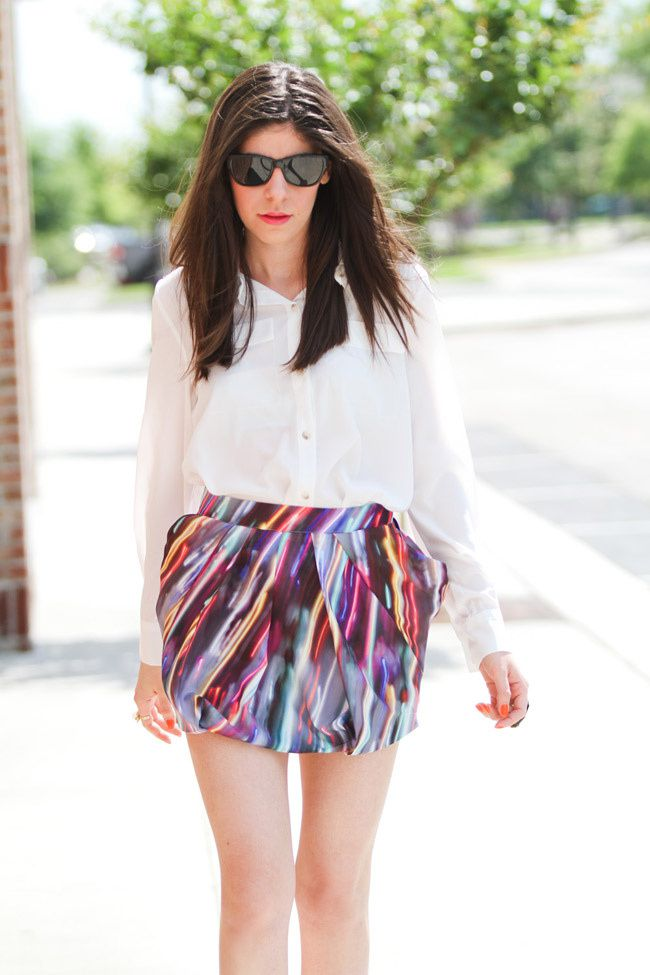 Asos Pumpkin Pumps, Neon Miniskirt, Agate Ring, Fashion Outfit, Silk White Blouse