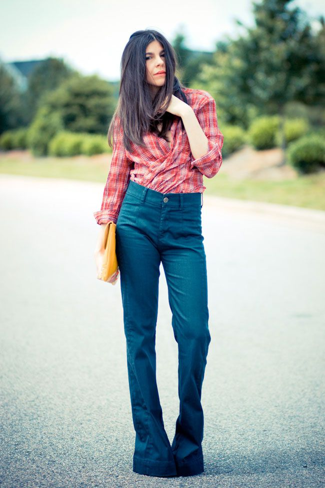 Bell Bottom Jeans, Wide Leg Jeans, Flare Jeans, Red Plaid Shirt, Asos Yellow clutch, Fashion