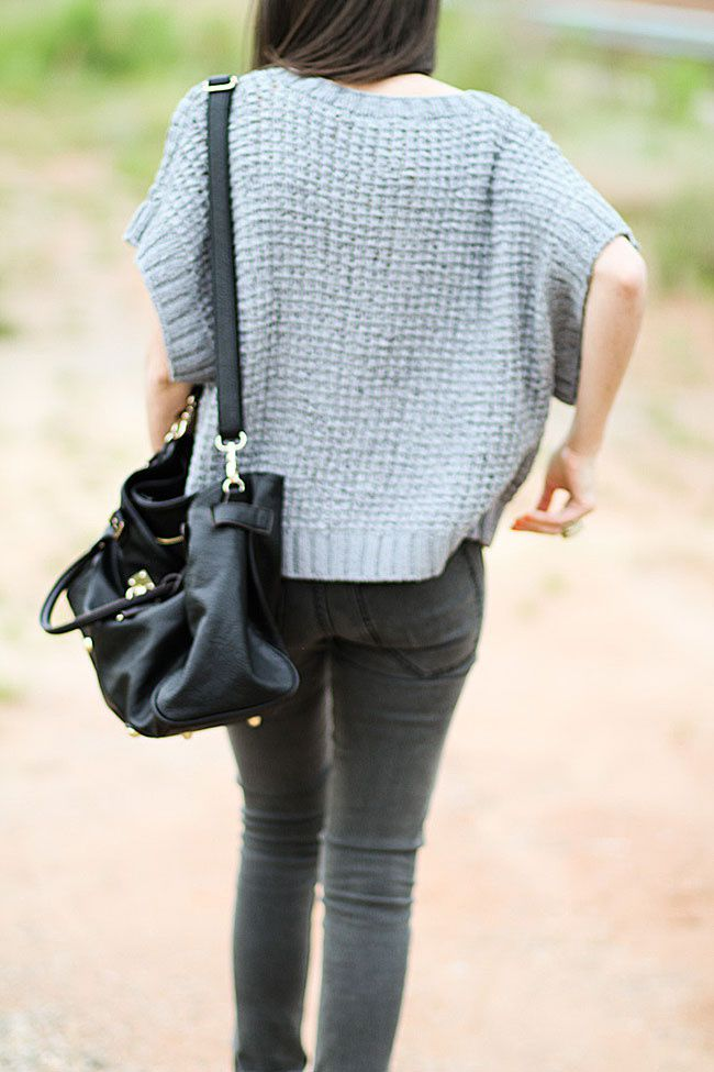 Chunky Knit Sweater, Fashion Outfit, Black Leather Paddington Bag, Cheap Monday Skinny Jeans