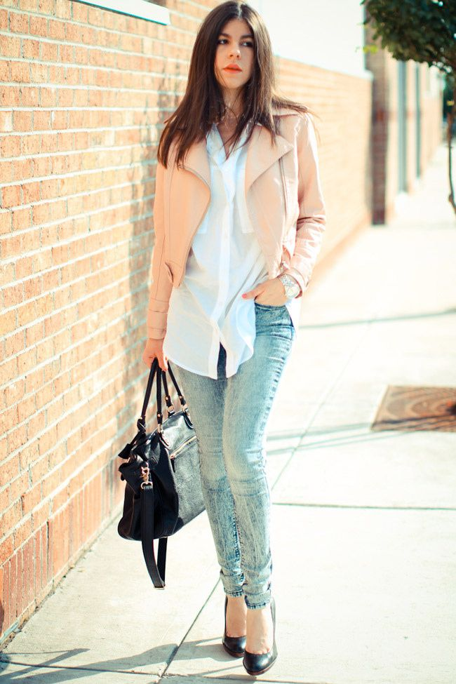 Pink Leather Jacket, Acid Wash Skinny Jeans, Urban Outfitters BDG, Nine West Heels, Paddington bag, Fashion, outfit