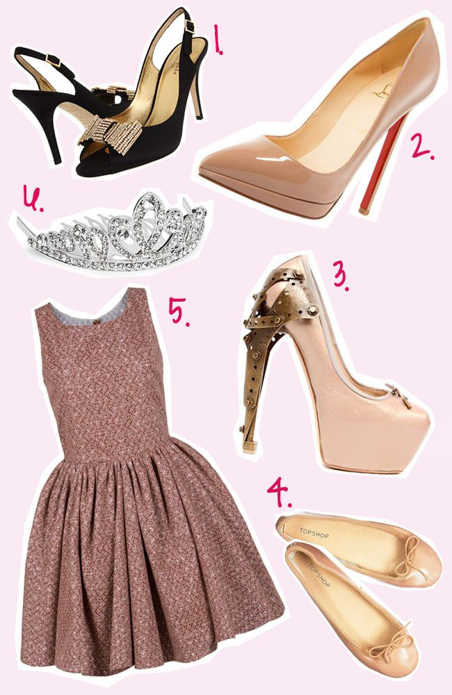 Ballerina Style Inspiration Fashion Collage, Christian Louboutin, Azzedine Alaia Vitrail Cut Out Dress, Pink Dress