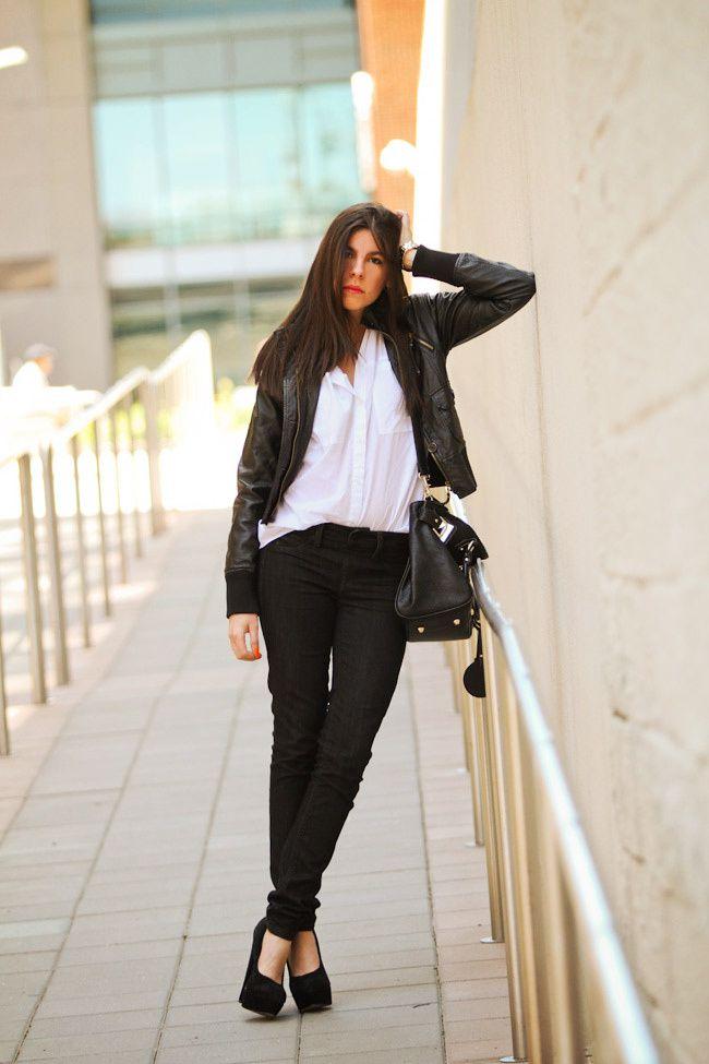 Skinny jeans, Bomber Jacket, Asos Pumpkin, Fashion Outfit, White Blouse