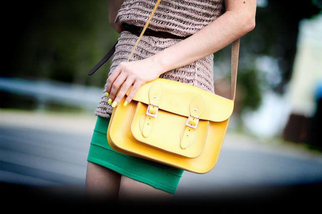 outfit, body con skirt, karen walker sunglasses, Moschino, Kain label, Fashion, Yellow Leather Satchel