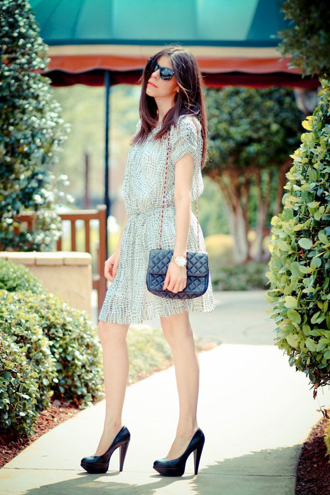 Joie dress, Fashion Outfit, Aldo platform heels, Vintage Chanel bag, Rayban sunglasses