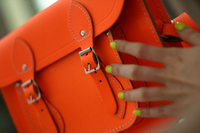 Cambridge Satchel Company Fluorescent Neon bag, Fashion, Elle magazine