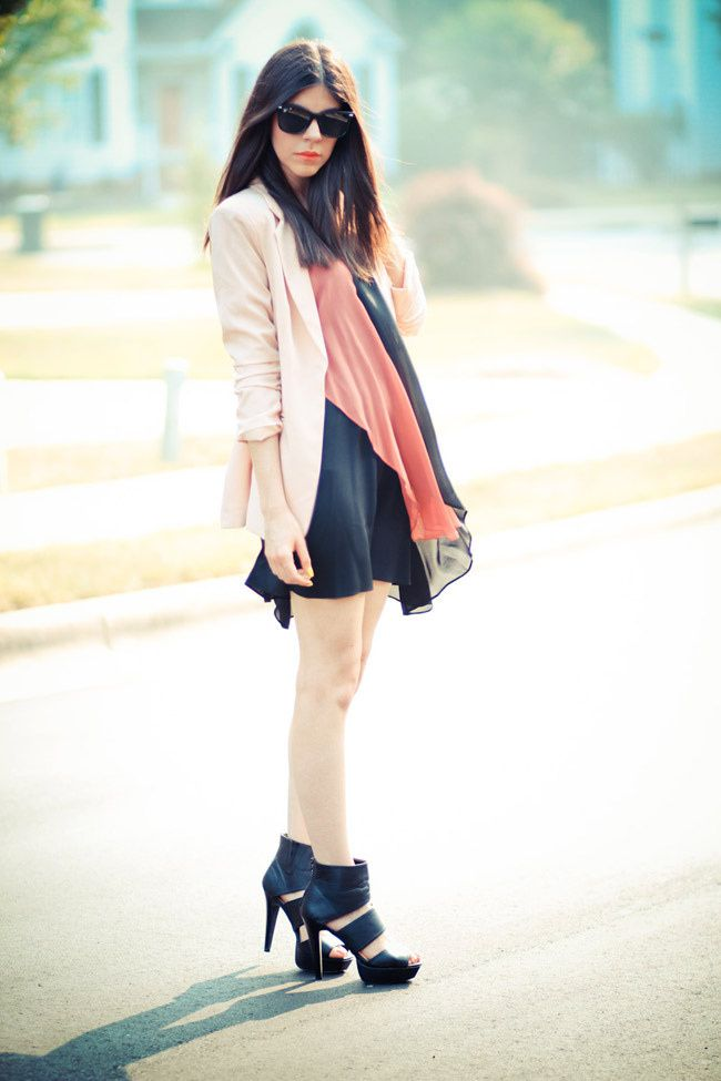 Pink Blazer, Alice Yim dress, strappy heels, Fashion outfit