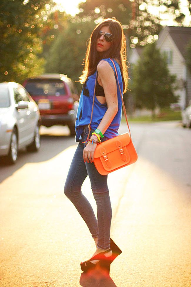 Cambridge Satchel Neon Flourescent bag, James Jeans Twiggy Karma, Friendship bracelets, Aviator Sunglasses, Fashion Outfit
