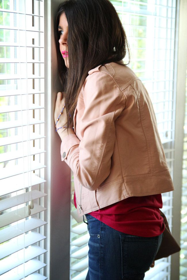 Bebe skinny jeans, Pink Leather Jacket, Fashion Outfit, Ippolita turquoise ring