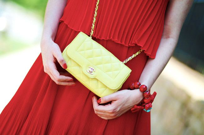Red Pleated Maxi Dress, Fashion Outfit, LAMB Gwen Stefani Heels, Chanel bag