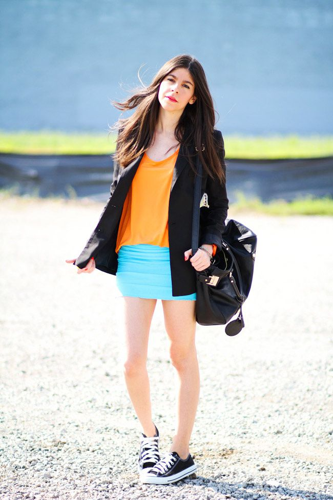 Fashion outfit, Color blocking, Converse
