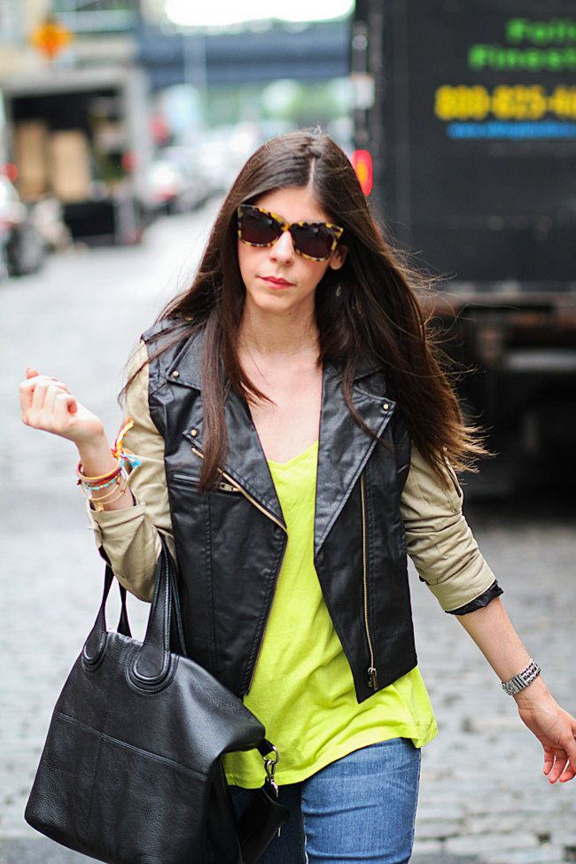 Karen Walker Sunglasses, Soho New York, Neon Fashion, NYFW, Converse, Balenciaga leather jacket style