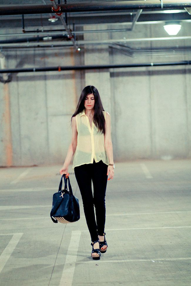 Sheer Blouse, Balenciaga platforms sandals, Alexander Wang Rocco duffel bag, Fashion outfit