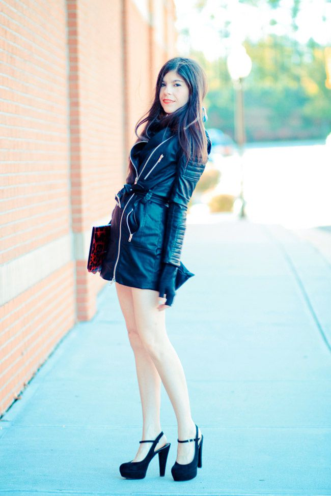 Leather Trench Coat, Marni Platforms, Ray Ban Wayfarer sunglasses, Fashion Outfit