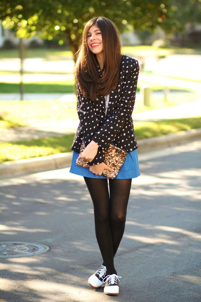 Star Print Zara Blazer, Blue Leather Skirt, Zara Sequin Clutch, Saddle shoes, Fifties Fashion, Outfit