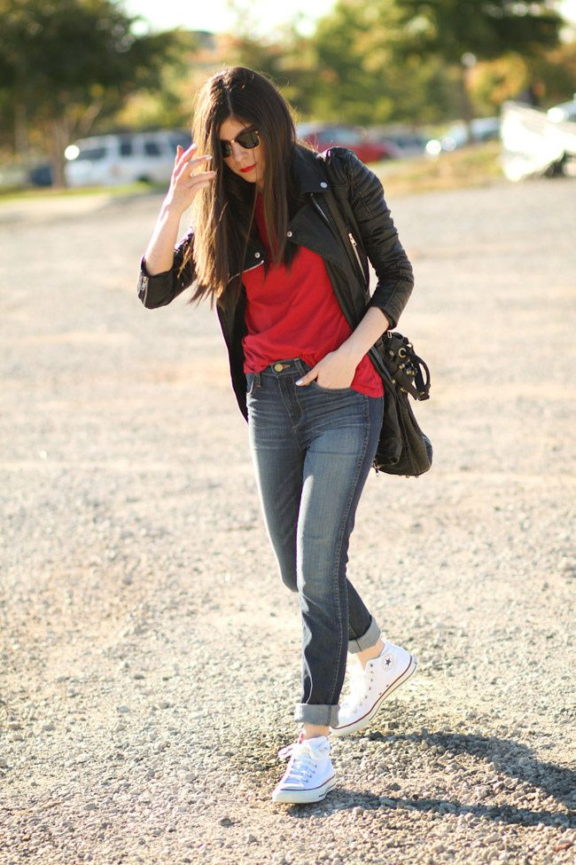 Alexander Wang diego bucket bag, Ray Ban Clubmaster, Converse Chuck Taylor hi top, LA Made Tee, Fashion Outfit