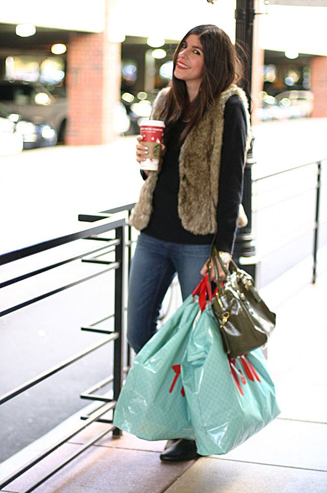 Fur vest, J Brand Skinny Jeans, Gucci boots, Gossip girl, Starbucks, Fashion outfit