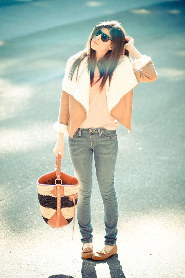 MinkPink Shearling, Rebecca Minkoff tote, RayBan Wayfarer, Suede moccasins, Fashion outfit