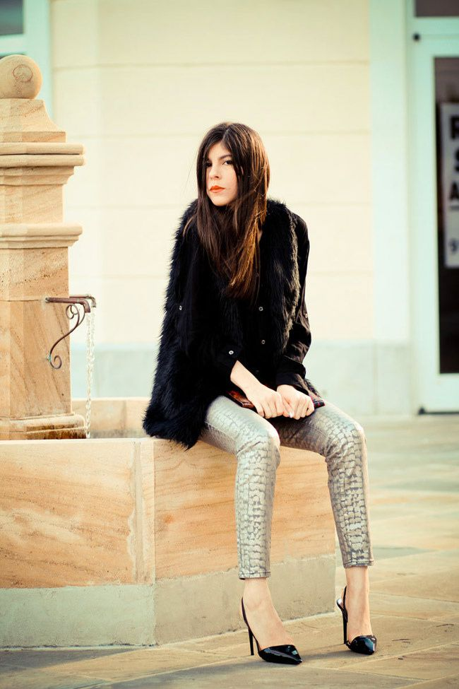 Armani Exchange Metallic Print Legging Jeans, Stella McCartney heels, Faux Fur vest, Olivia Palermo, Fashion Outfit