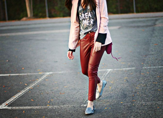 Rebecca Minkoff mini MAC bag, velvet slippers, Leather pants, Pink blazer, outfit, Fashion