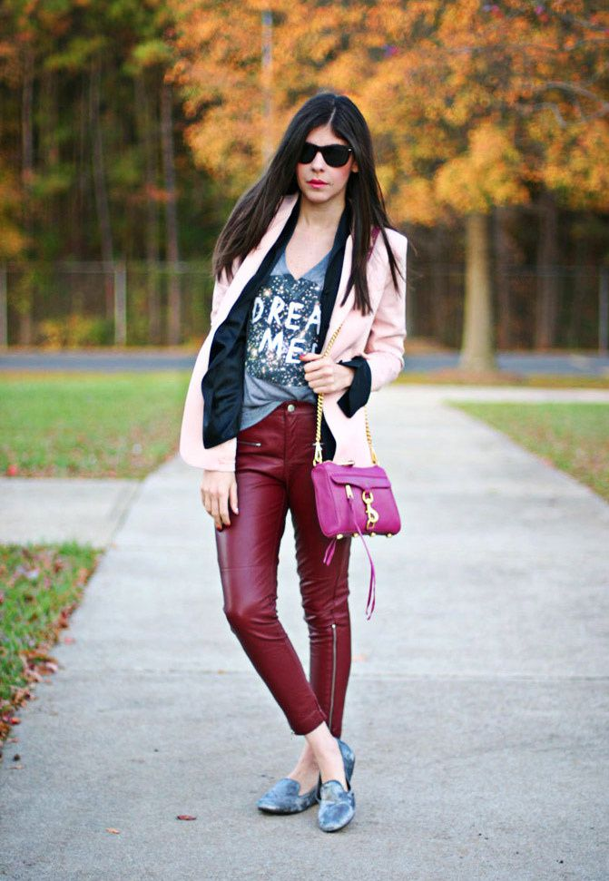 Rebecca Minkoff mini MAC bag, velvet slippers, Leather pants, Pink blazer, outfit, Fashion