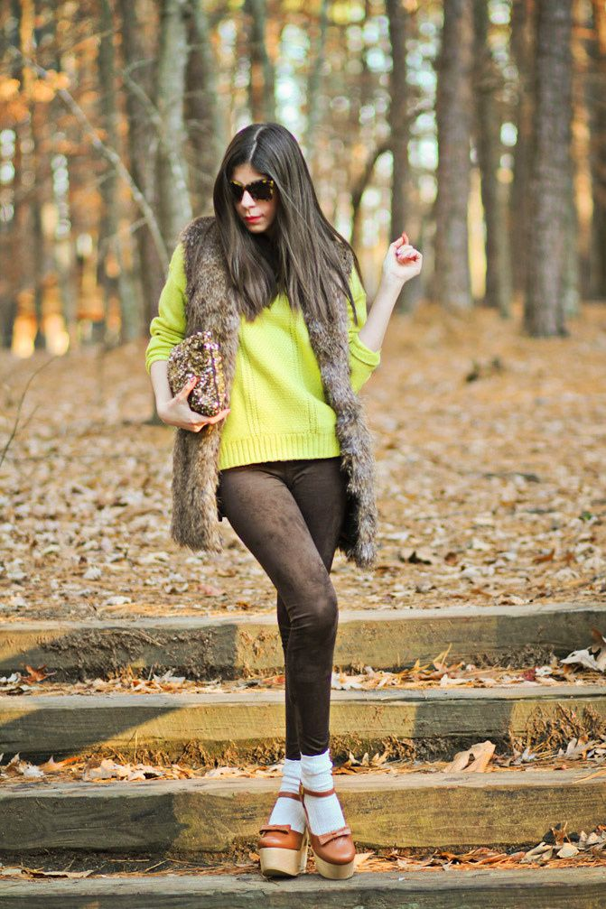 Rachel Roy fur, Asos neon knit, Free People Socks, Karen Walker sunglasses, Fashion outfit