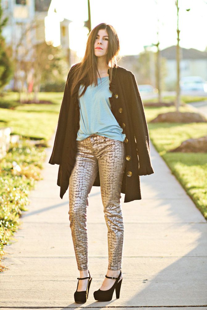 Stylemint Mary Kate and Ashley Olsen, Marni platforms, Alexa Chung, metallic snakeskin jeans, Fashion outfit