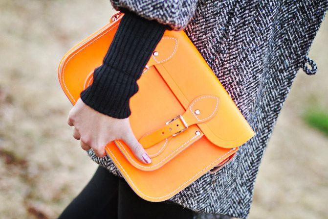 Cambridge Leather Satchel Co Fluorescent neon bag, Fashion