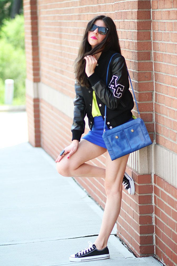Varsity jacket, Converse, Neon Fashion