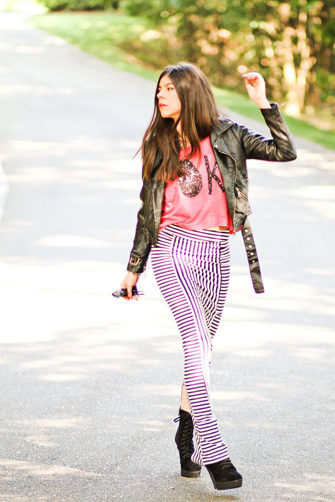 Stripe Maxi Skirt, Studded Leather Jacket, Galaxy print T Shirt, Fashion outfit