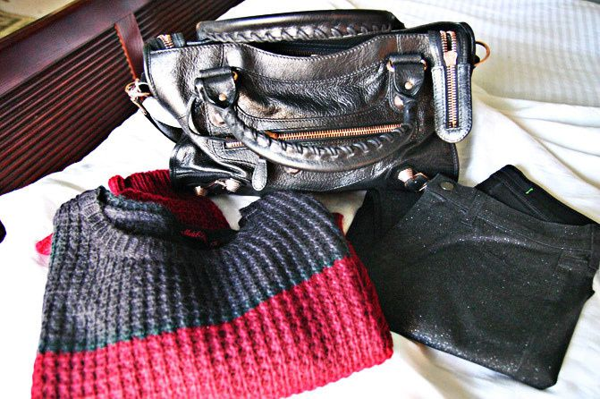 Balenciaga Arena Giant City handbag, Fashion, Color Block Sweater, J Brand Glitter Skinny Jeans