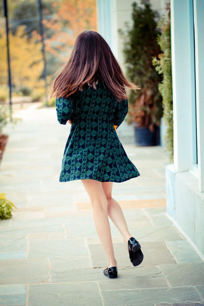 Everly emerald dress, patent penny loafers, Zooey Deschanel fashion outfit