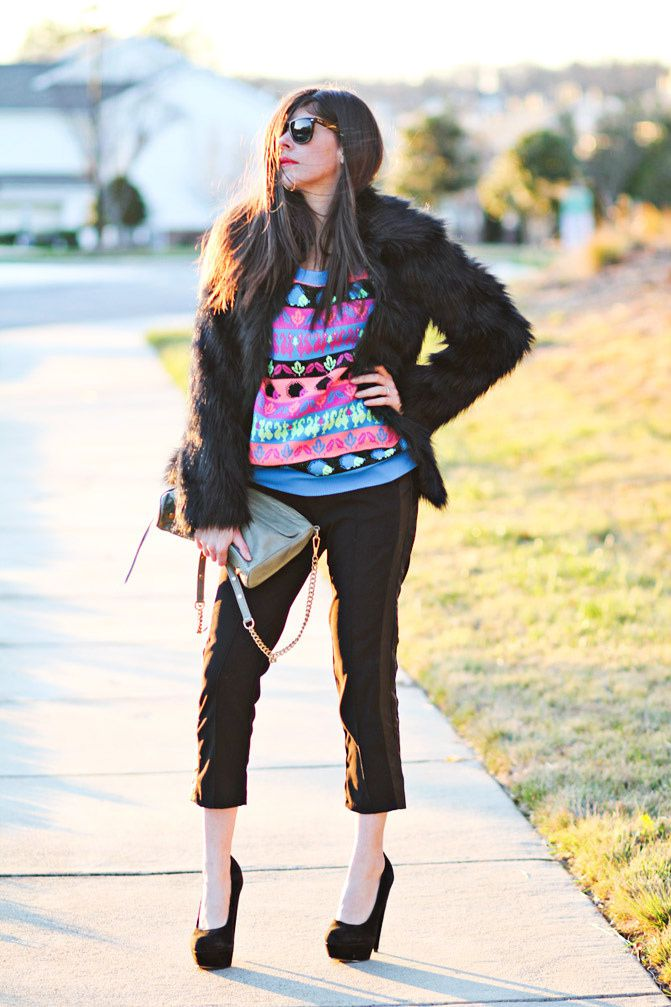 Faux Fur Coat, Neon hedgehog sweater, Asos pumpkin heels, Rebecca Minkoff bag, Ray-Ban Wayfarer, Fashion outfit