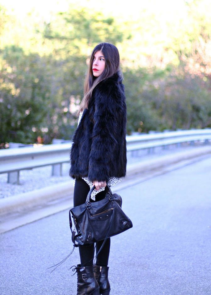 Balenciaga classic city bag, Black Faux Fur Coat, Guess ankle boots, Fashion outfit