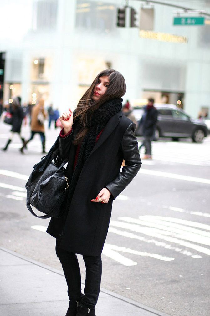Zara coat with leather sleeves, Topshop ambush boots, Alexander Wang Rocco Duffel bag, Fashion, Outfit