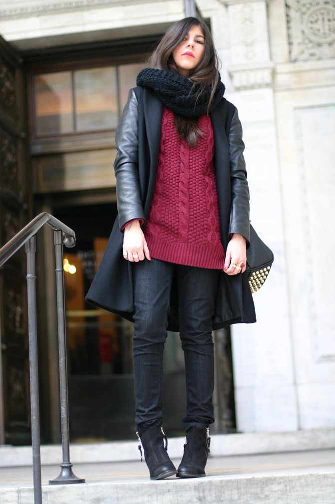Zara Coat With Leather Sleeves