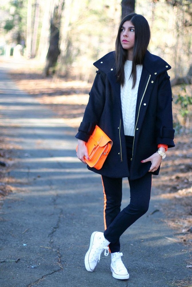 Hudson fluorescent jeans, Marc Jacobs gold watch, Leather satchel neon bag, Converse, Fashion, Outfit