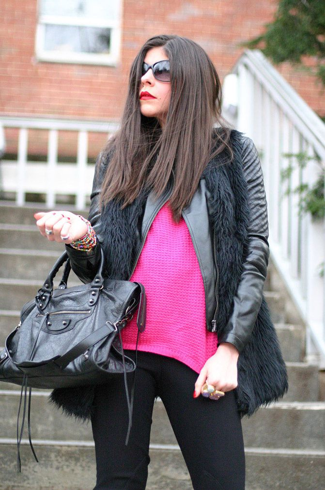 Neon Pink and Leather