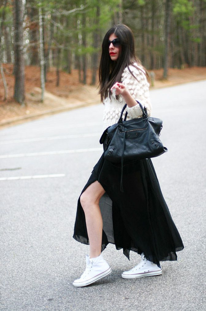 Sheer Maxi Skirt, Chuck Taylor Converse Hi Top Sneakers, Balenciaga classic city bag, Fashion, Outfit