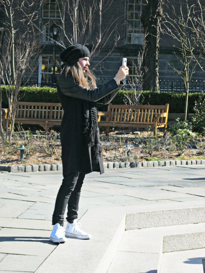 New York Fashion Week, Central Park, Zara coat, Converse, Alexander Wang Rocco duffel, Fashion, Outfit