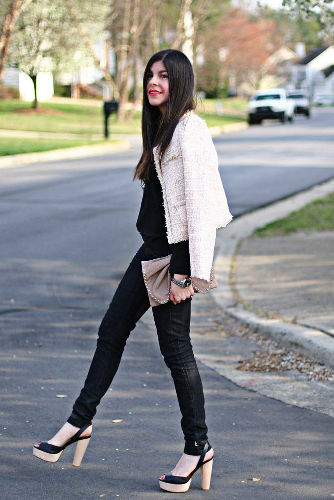 Chanel Jacket, Marc jACOBS BOW BAG, Zara sandals, Fashion, Outfit