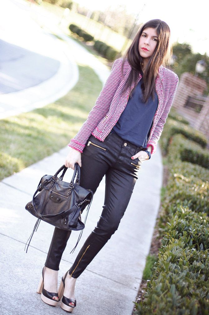 Zara blazer, Leather leggings, Balenciaga classic City bag, Fashion