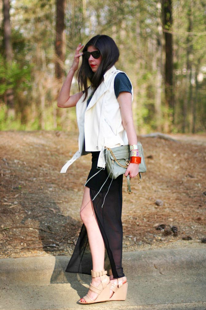 Rebecca Minkoff Mac, Alexander Wang wedges, Fashion, sheer high low maxi